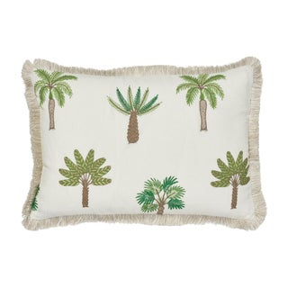 Schumacher Palmetto Beach Embroidery Pillow in Green For Sale