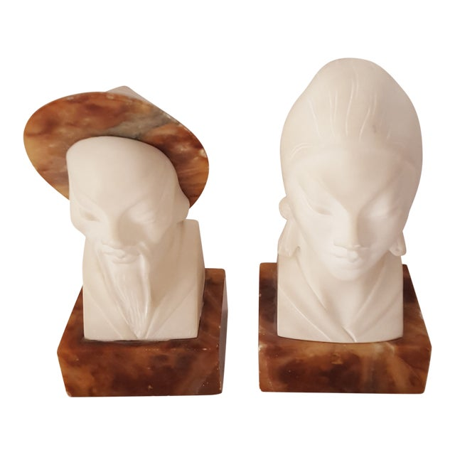 Asian, Vintage Alabaster Male and Female Bust Sculptures - a Pair For Sale