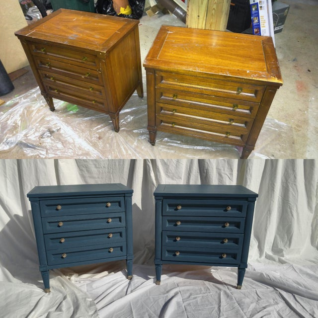 Mid-Century Blue Nightstands - A Pair - Image 10 of 10