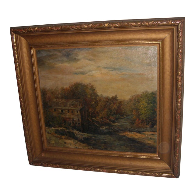 Painting of a Country Mill by a Stream For Sale