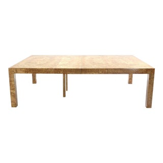 Mid-Century Modern Milo Baughman Huge Square Burl Wood Dining Conference Table For Sale