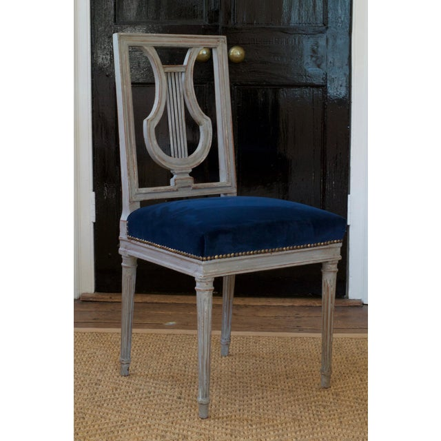 French Louis XVI Lyre Back Dining Chairs in Blue Indigo Velvet For Sale - Image 6 of 8