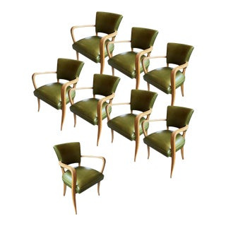 Green Leather Art Deco Armchairs - Set of 8 For Sale