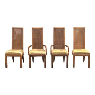 American of Martinsville Burlwood & Cane Chairs Ft. Brass Inlayed Back - Set of 4 For Sale
