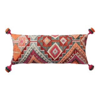 """Justina Blakeney X Loloi Plush Elongated Bohemian Accent Pillow with Tassels, Multi - 13"""" x 35"""" Cover with Down Pillow For Sale"""
