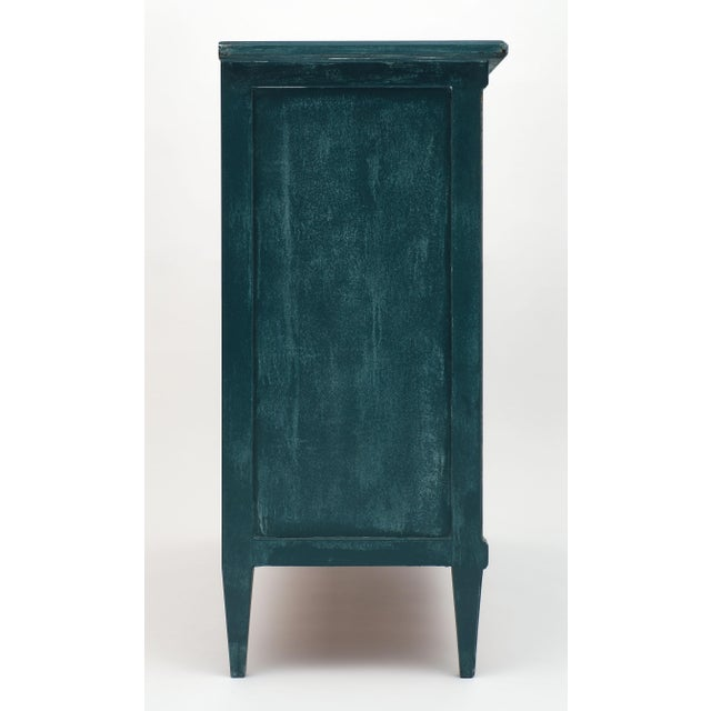 Gold Antique Directoire Style Teal Buffet For Sale - Image 8 of 10