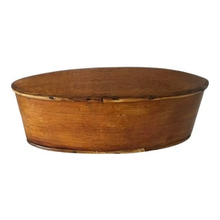 Antique Vintage Primitive Lidded Oval Treen Ware Box For Sale