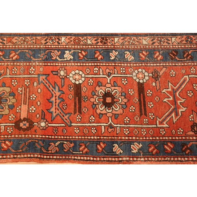 Antique Serapi Persian Ivory Rug - 11′ × 12′6″ For Sale - Image 9 of 10