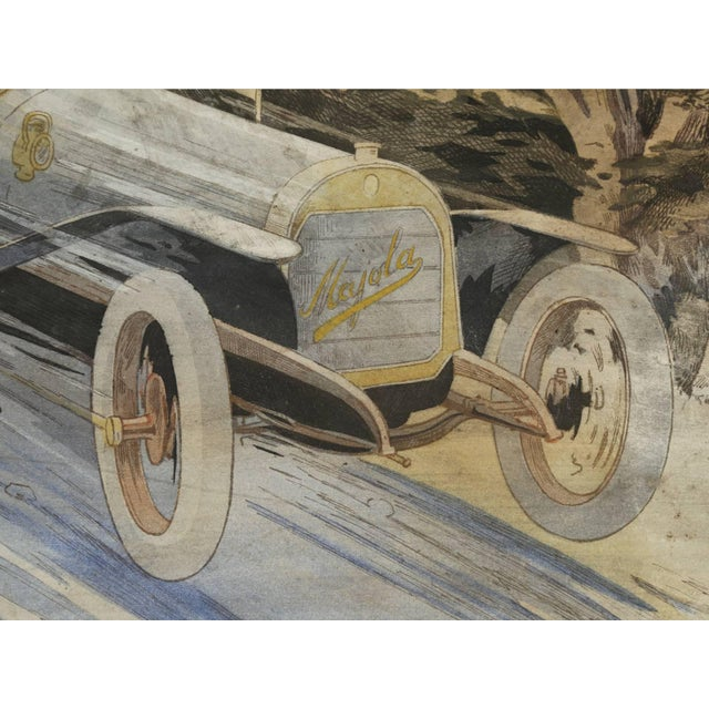 Watercolor Gamy French Automobile Lithograph, Hand-Colored Majola Auto Circa 1913 For Sale - Image 7 of 11
