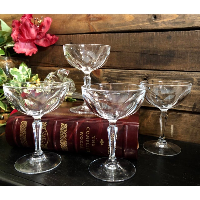 """Glass Set of 4 Tall Champagne / Dessert Cup Cristal D'Arques Durrand """"Washington"""" Glasses For Sale - Image 7 of 11"""