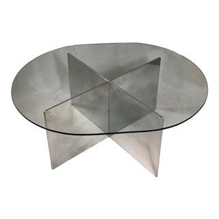 1970's Paul Mayen for Habitat New York Polished Aluminum Cocktail Table For Sale
