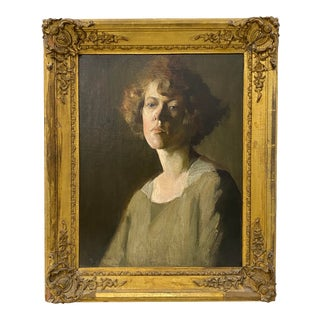 Vintage Oil Portrait of a Young Woman by Hazel Ives C.1940 For Sale
