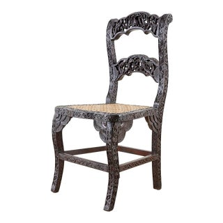 Anglo Indian Carved Rosewood Desk Chair For Sale
