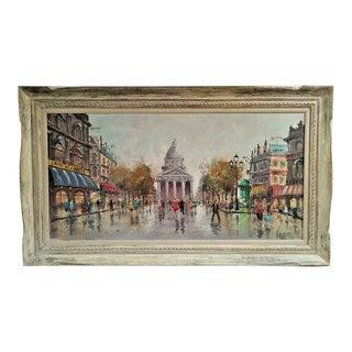 Vintage Oil Painting on Canvas Signed Antonio De Vity Paris Streets For Sale