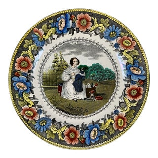 Creil Polychrome Transferware Polychrome Plate – La Poupeé, the Doll, Circa 1830 For Sale