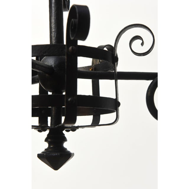 Three Light Wrought Iron Chandelier For Sale In Boston - Image 6 of 12