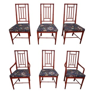 Drexel Heritage Vintage Faux Bamboo Painted Dining Chairs - 6