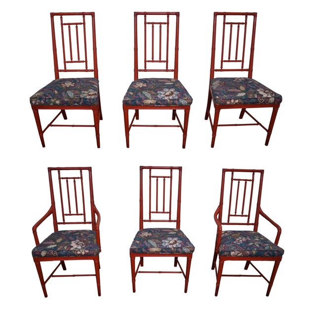 Drexel Heritage Vintage Faux Bamboo Painted Dining Chairs - 6 - Image 1 of 10