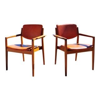 1960s Vintage Finn Juhl Model 196 Teak Danish Arm Chairs- A Pair For Sale
