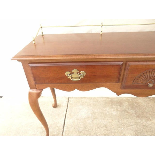 Wood American Drew Cherry Queen Anne Sofa Hall Foyer Table Console For Sale - Image 7 of 11
