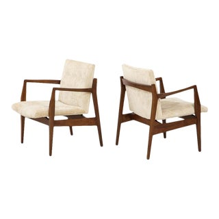 Jens Risom Walnut Sculptural Lounge Chairs - a Pair For Sale