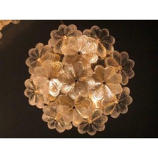 Vintage Medium Ernst Palme Brass and Floral Glass Flush Mount Sconce Preview