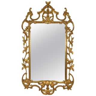 1950s-1960s Italian Gold Giltwood Rococo Style Mirror For Sale