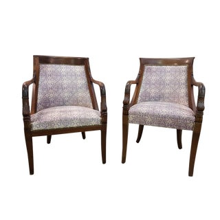 Pair of French Antique Late 19th C. His and Hers Carved Walnut Armchairs Newly Upholstered For Sale