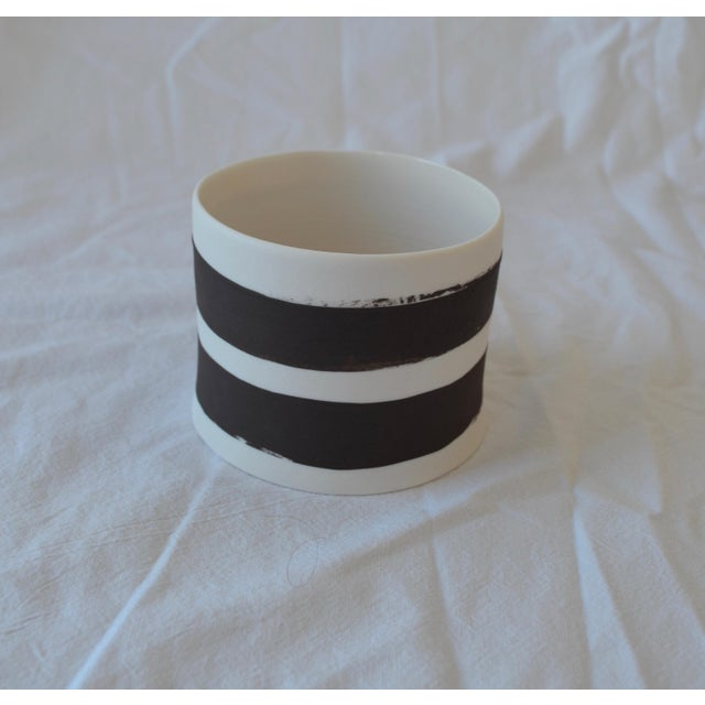 Contemporary Ceramic Striped Cylindrical Vessels - Set of 5 For Sale In New York - Image 6 of 13