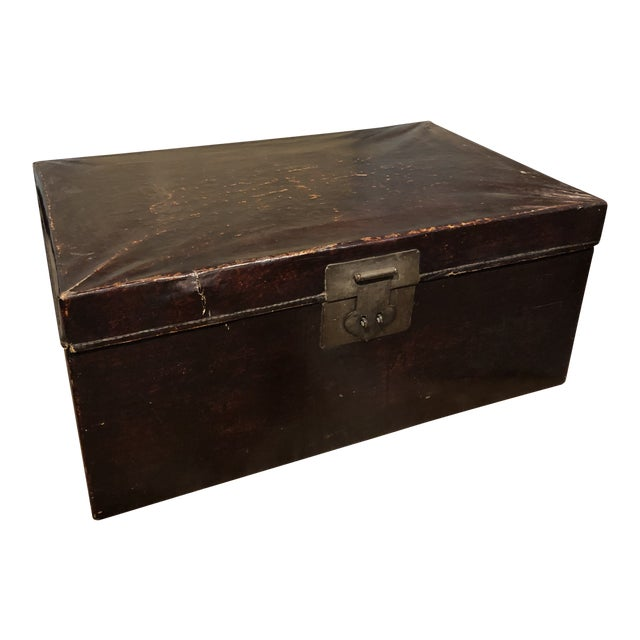 19th Century Chinese Leather Trunk For Sale