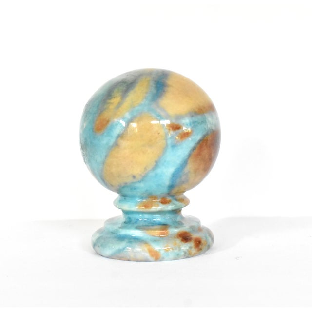 Vintage Italian Duccheschi Blue and Tan Alabaster Round Paper Weight For Sale In San Francisco - Image 6 of 12