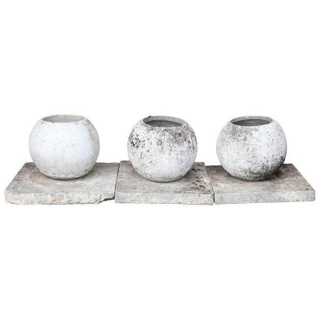 Mid-Century French Cast Stone Sphere Planter Trio For Sale - Image 11 of 11