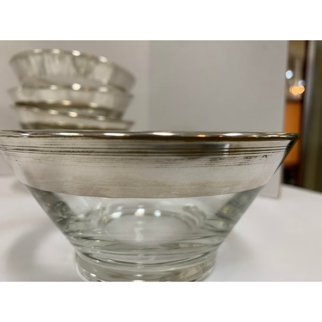1960s 1960s Dorothy Thorpe Silver Rim Glass Salad Bowl Set - 7 Pieces For Sale - Image 5 of 8