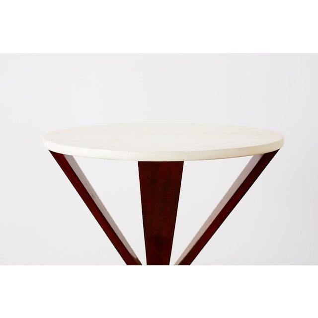Art Deco Style Mahogany and Goatskin Vellum Drinks Table For Sale - Image 4 of 13