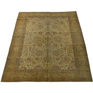 Antique Persian Tabriz With Animal Print Rug-11'4'' X 9'1'' For Sale