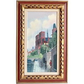 "Mid Century Modern Painting on Canvas Paris Seine River Notre Dame 32"""