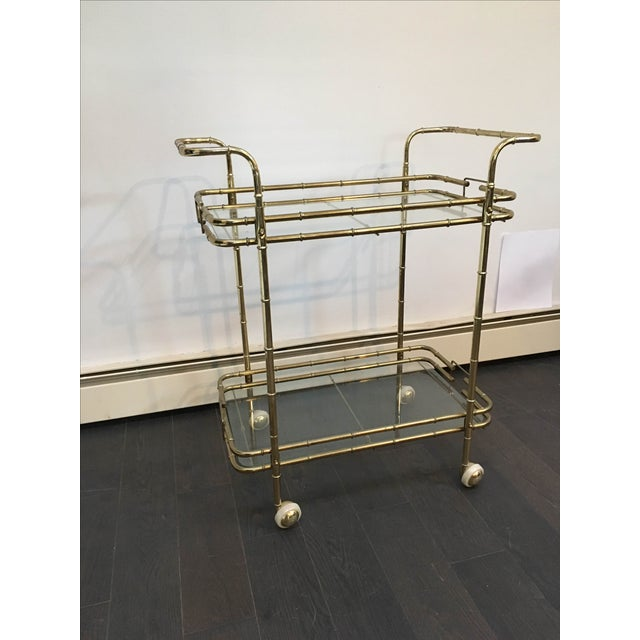 Brass Plated Mid Century Bamboo Bar Cart - Image 11 of 11