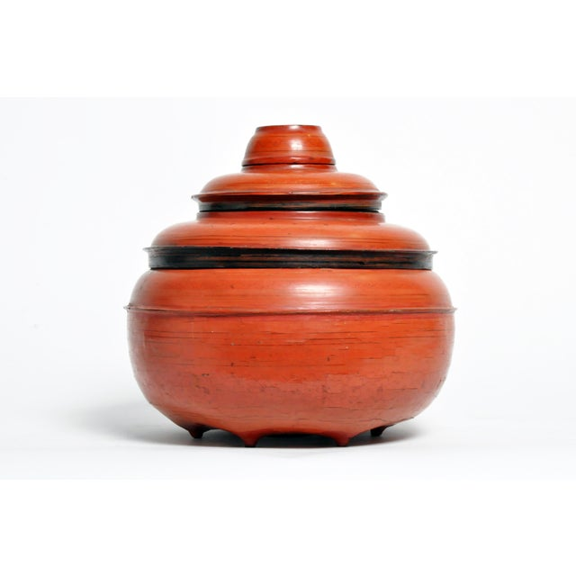 Burmese Red Lacquer Offering Urn For Sale - Image 13 of 13