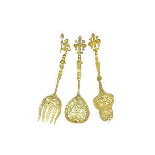 1960s Baroque Intricate Brass Serving Utensil by Ugo Bellini - Set of 3 For Sale
