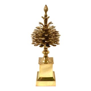 Mottahedeh Brass Pinecone Statue Finial Obelisk Statue Vintage Traditional For Sale