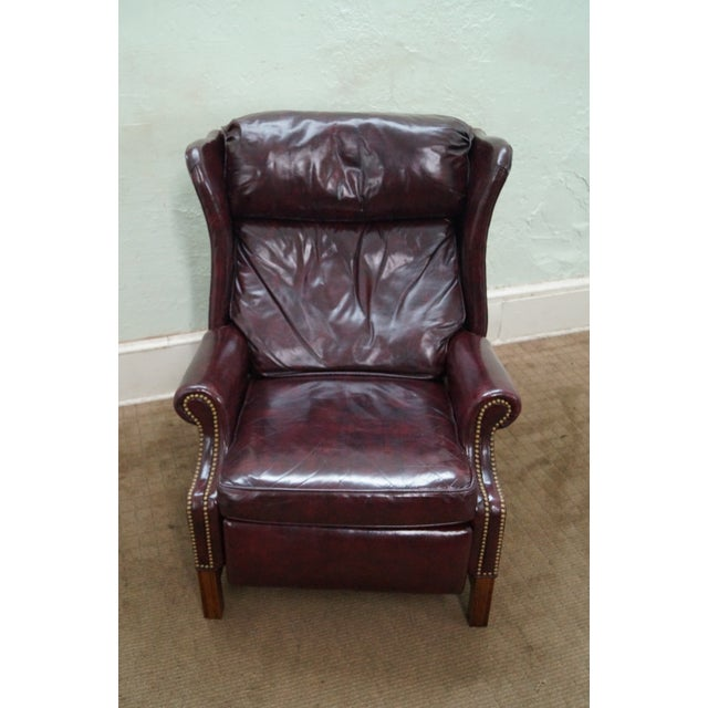 Quality Oxblood Leather Chippendale Wing Chair - Image 2 of 10