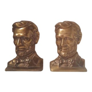 Mid Century Abraham Lincoln Bookends - a Pair For Sale