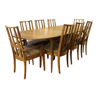 Mid Century Modern Broyhill Brasilia Expandable Dining Set Table Chairs 1960s - Set of 9 For Sale
