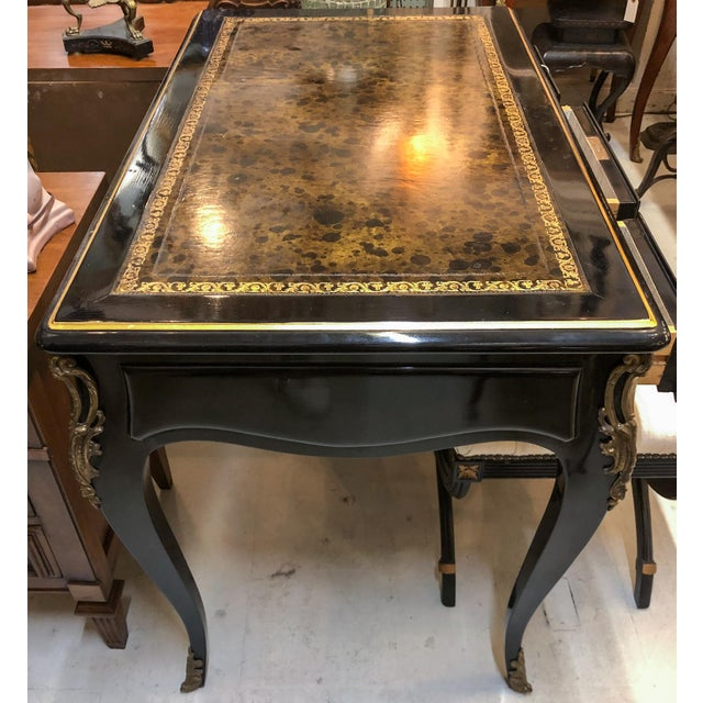 Metal Louis XV Style Desk / Secretary With Neoclassical Stool Set For Sale - Image 7 of 13