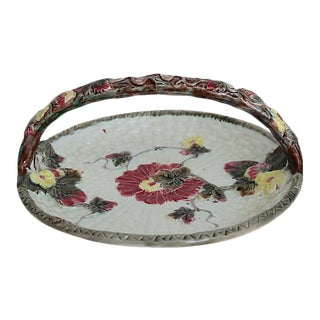 Antique English Majolica Strawberry & Foliage Basket For Sale