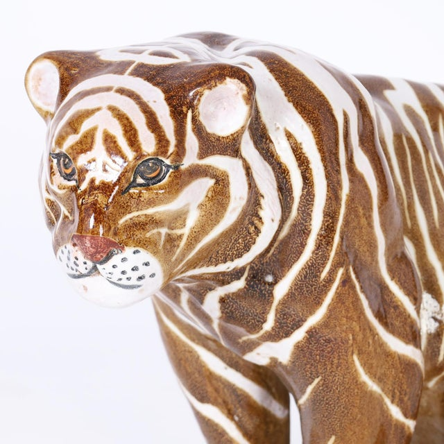 Mid Century Terra Cotta Tiger For Sale In West Palm - Image 6 of 8