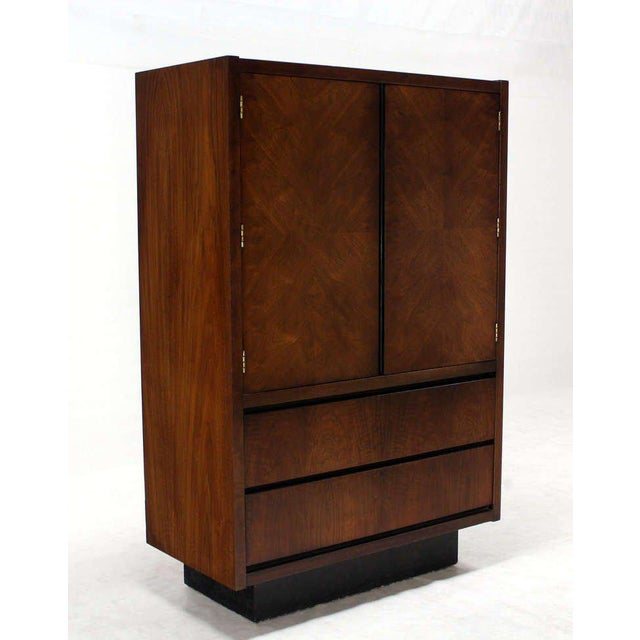 Mid-Century Modern Mid-Century Modern Walnut Gentlemen's High Chest Chifferobe Armoire For Sale - Image 3 of 10