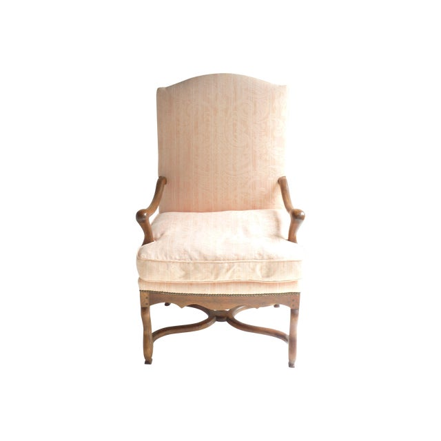 Soft Peach Louis XV-Style Fauteuil - Image 1 of 5