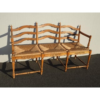 Vintage French Country Ladderback Three Seater Settee Bench W Woven Rush Seat Preview