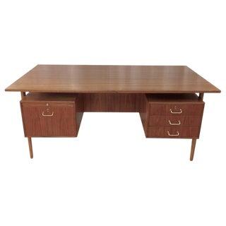 Teak & Oak Floating Top Executive Desk For Sale